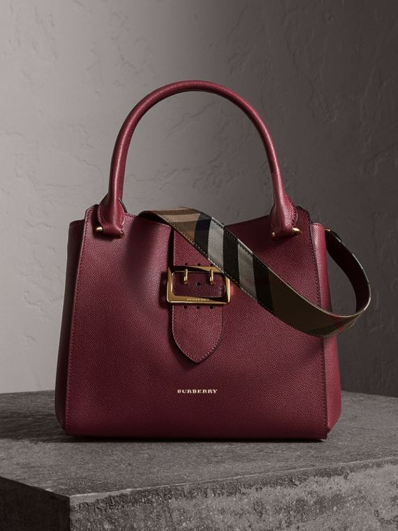 The Medium Buckle Tote in Grainy Leather in Dark Plum