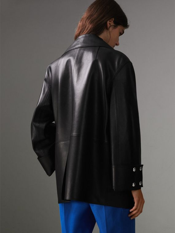 Double-breasted Bonded Lambskin Jacket in Black - Women | Burberry - cell image 2