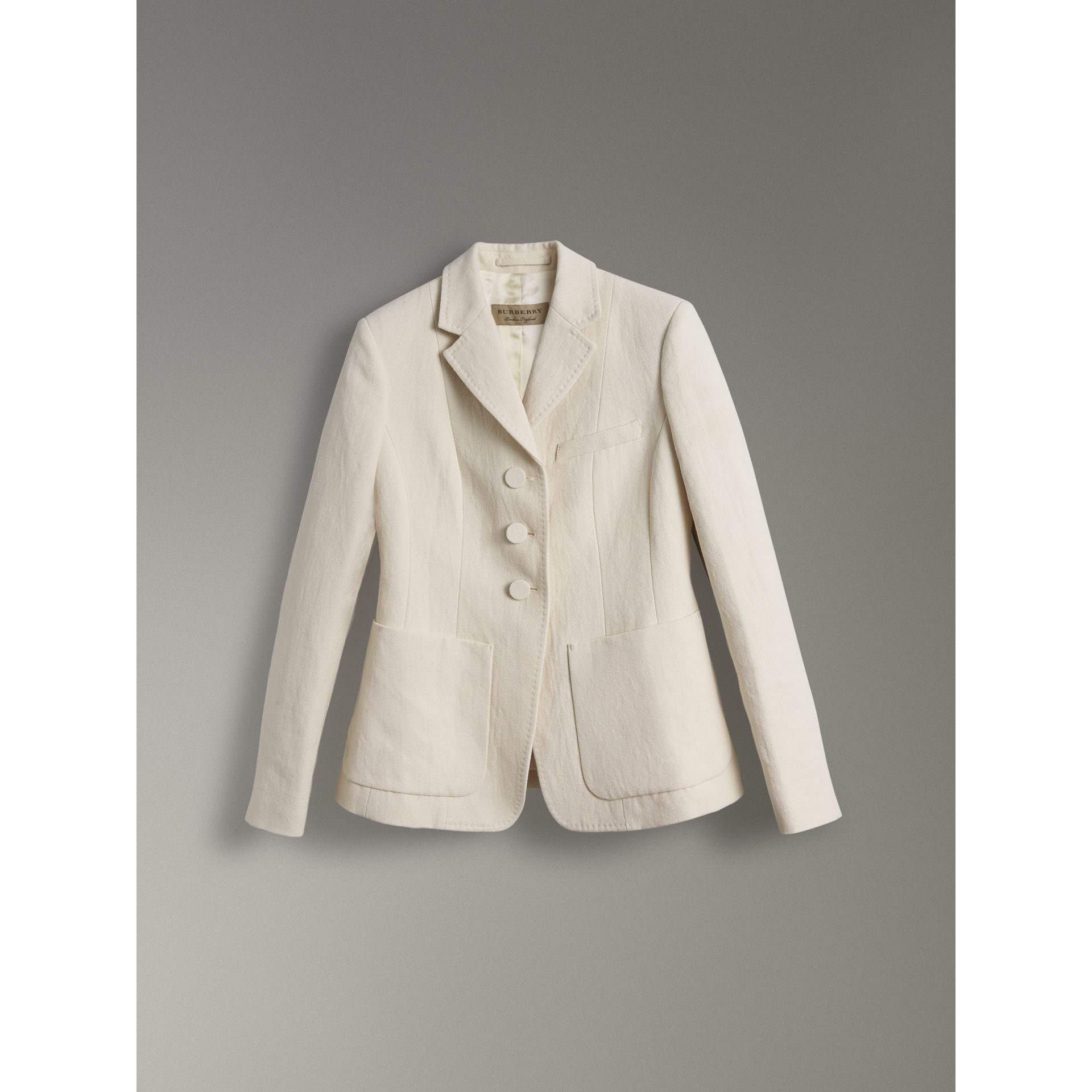 Cotton Linen Fitted Jacket in Off White - Women | Burberry - gallery image 3
