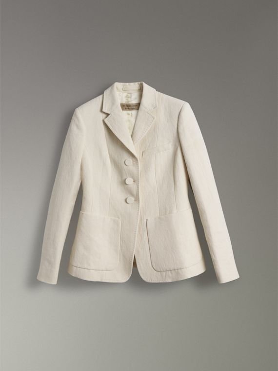 Cotton Linen Fitted Jacket in Off White - Women | Burberry - cell image 3