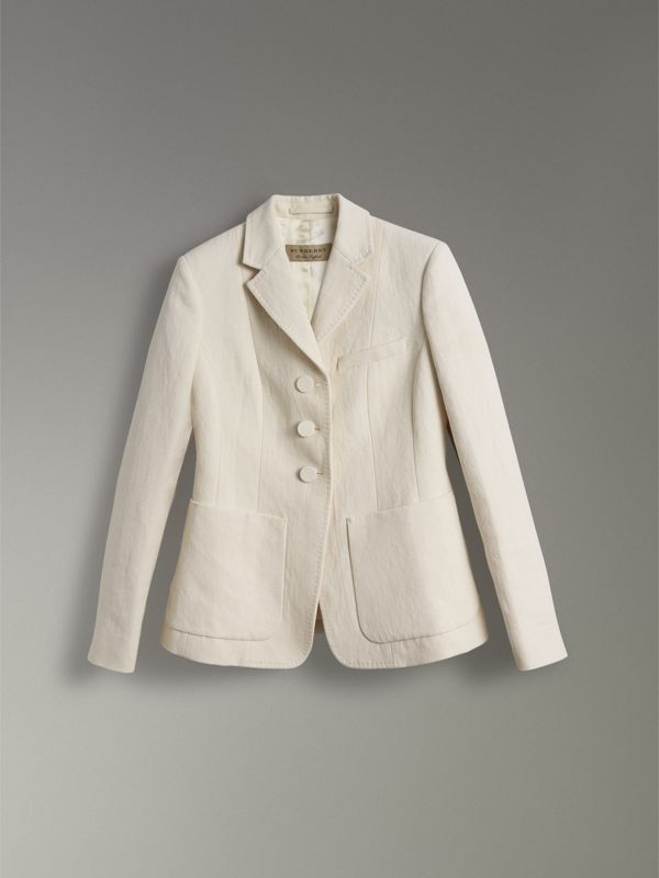 Cotton Linen Fitted Jacket in Off White - Women | Burberry United Kingdom - cell image 3