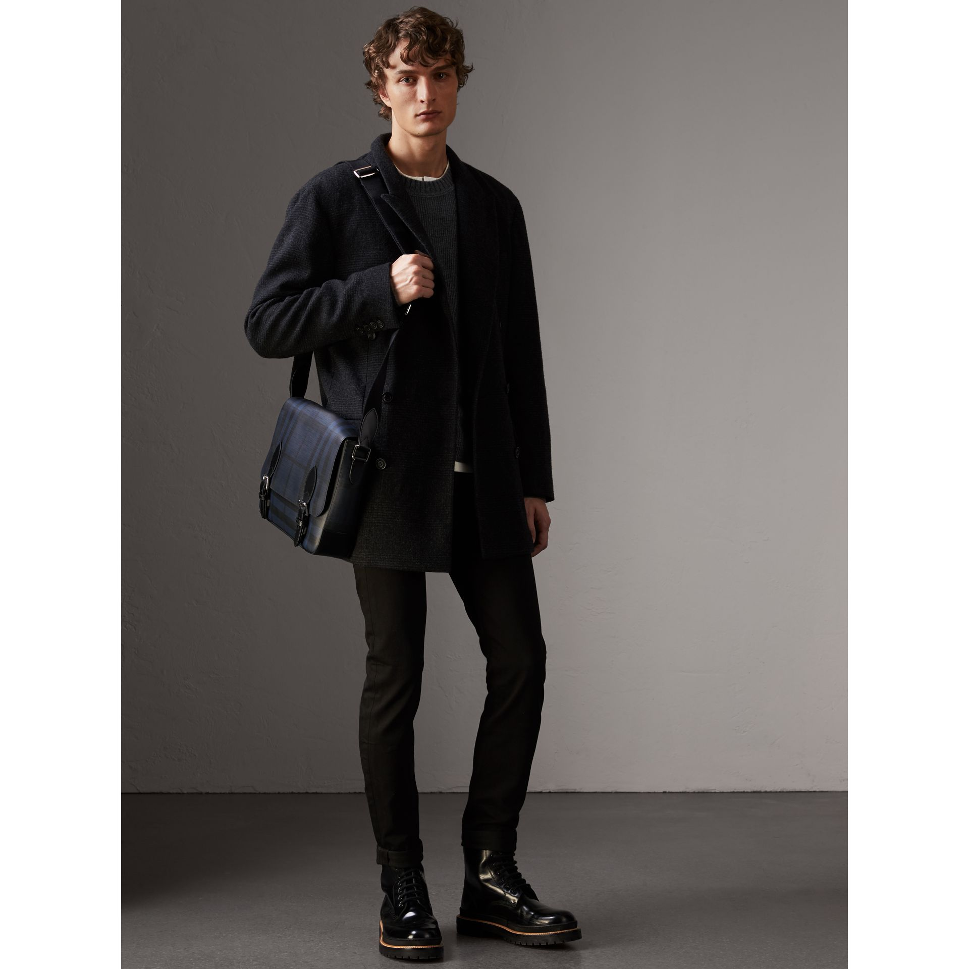 Medium Leather Trim London Check Messenger Bag in Navy/black - Men | Burberry Singapore - gallery image 2