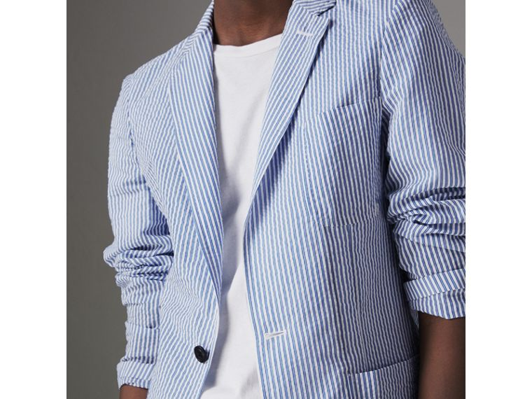 Slim Fit Cotton Blend Seersucker Tailored Jacket in Navy - Men | Burberry Australia - cell image 1
