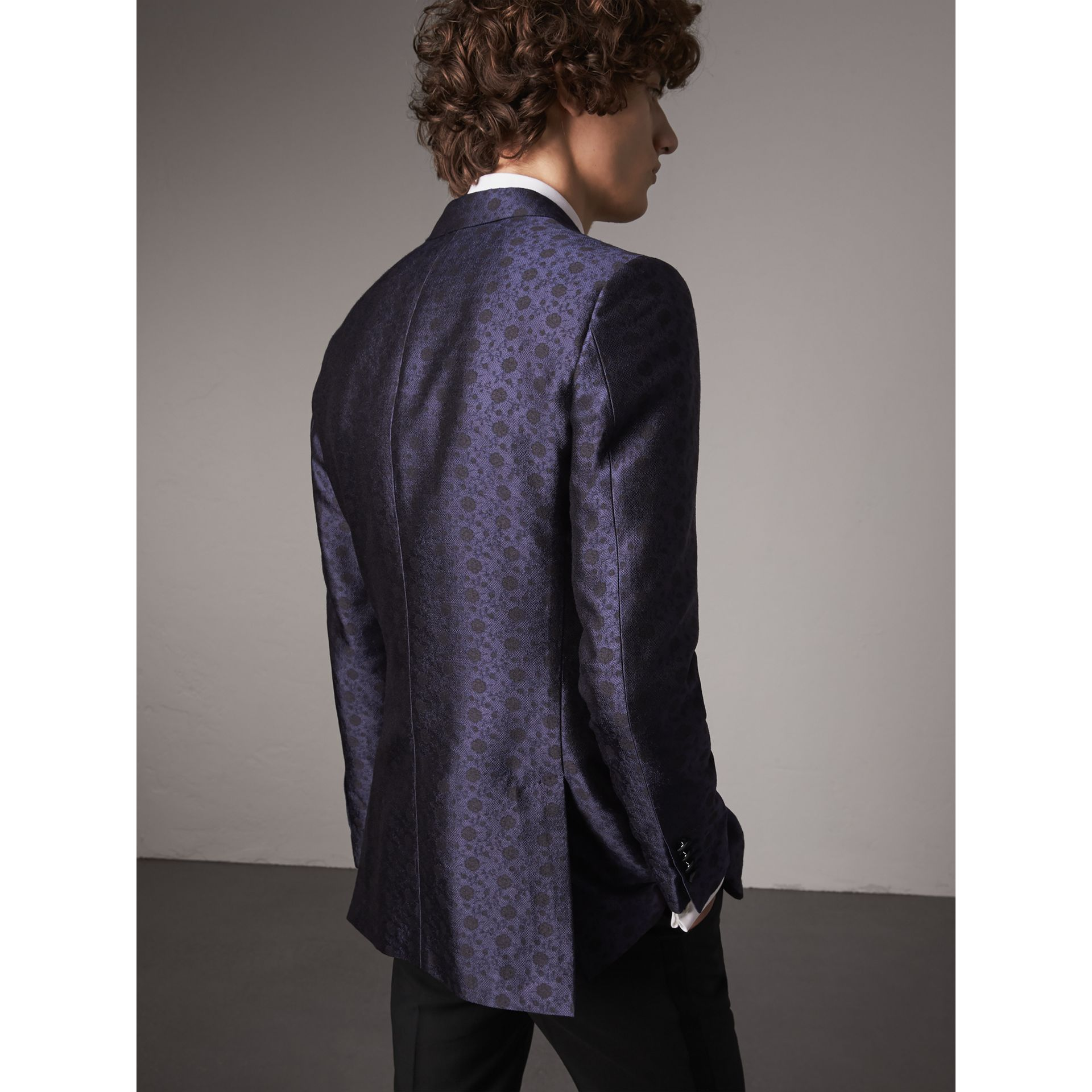 Soho Fit Silk Wool Jacquard Evening Jacket in Navy - Men | Burberry - gallery image 3