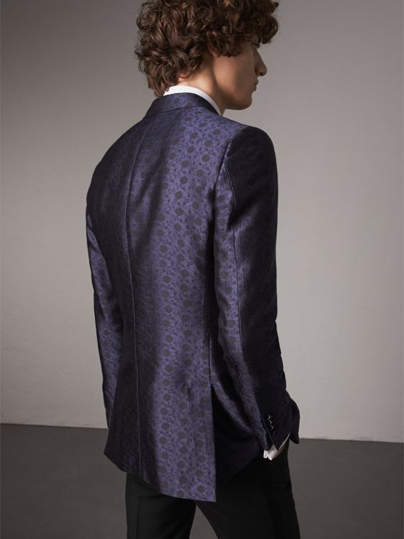 Soho Fit Silk Wool Jacquard Evening Jacket in Navy - Men | Burberry United Kingdom - cell image 2