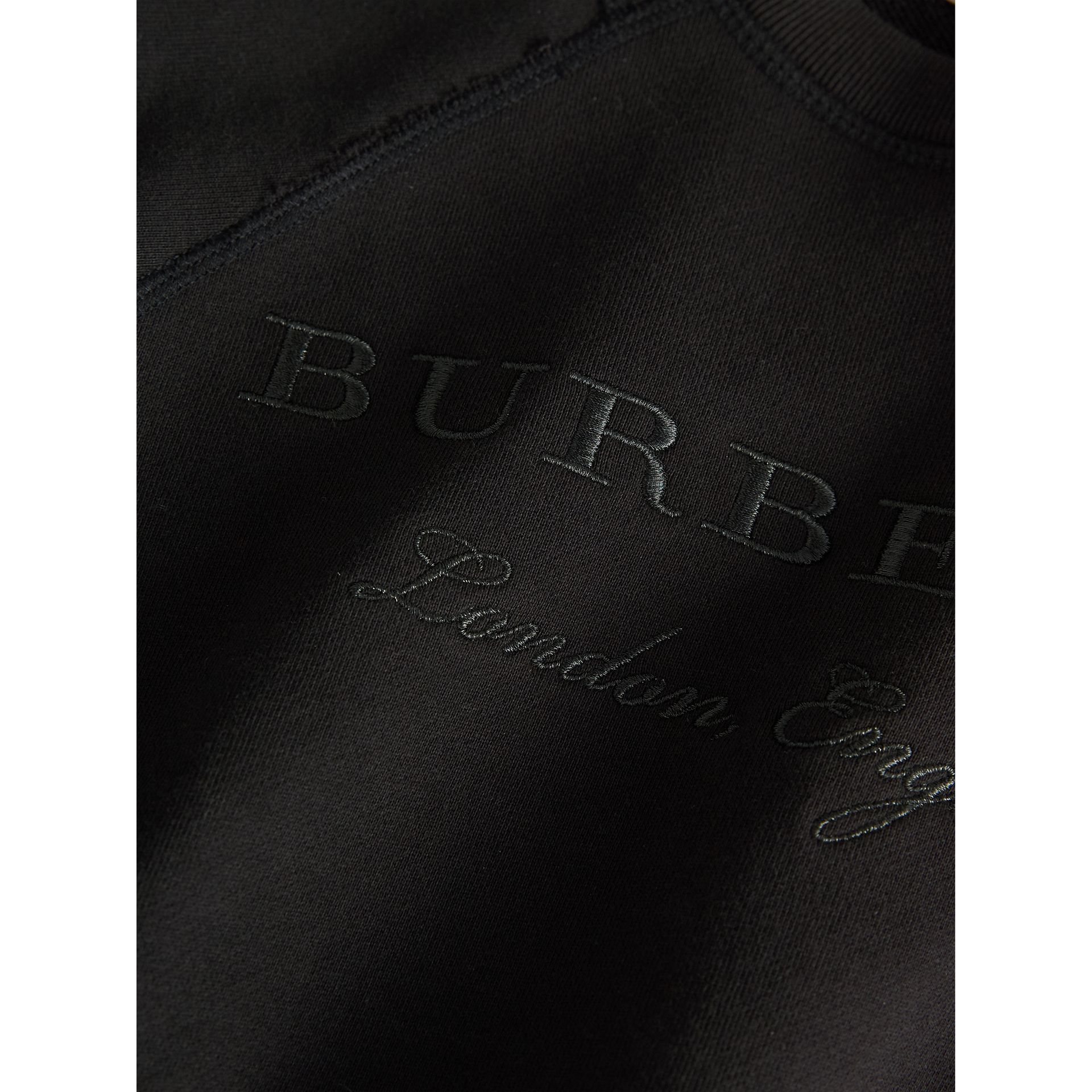 Striped Hem Embroidered Cotton Jersey Sweatshirt in Black - Boy | Burberry United States - gallery image 2