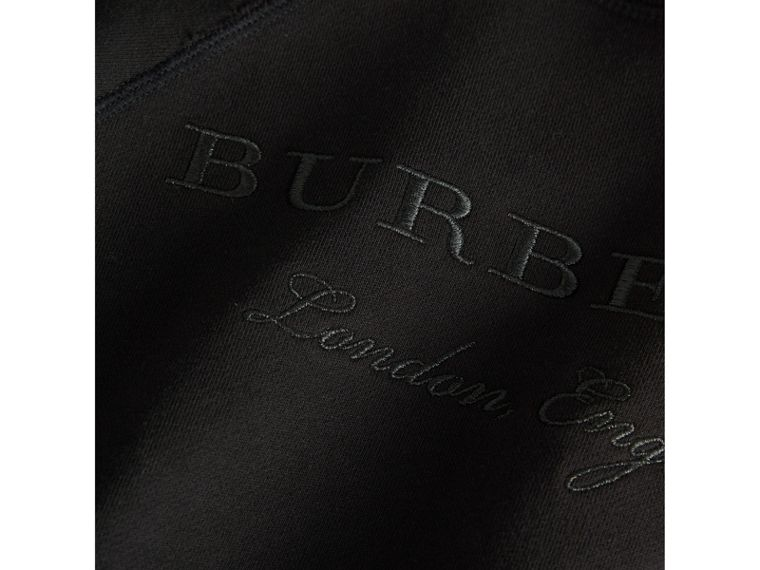 Striped Hem Embroidered Cotton Jersey Sweatshirt in Black - Boy | Burberry Singapore - cell image 1
