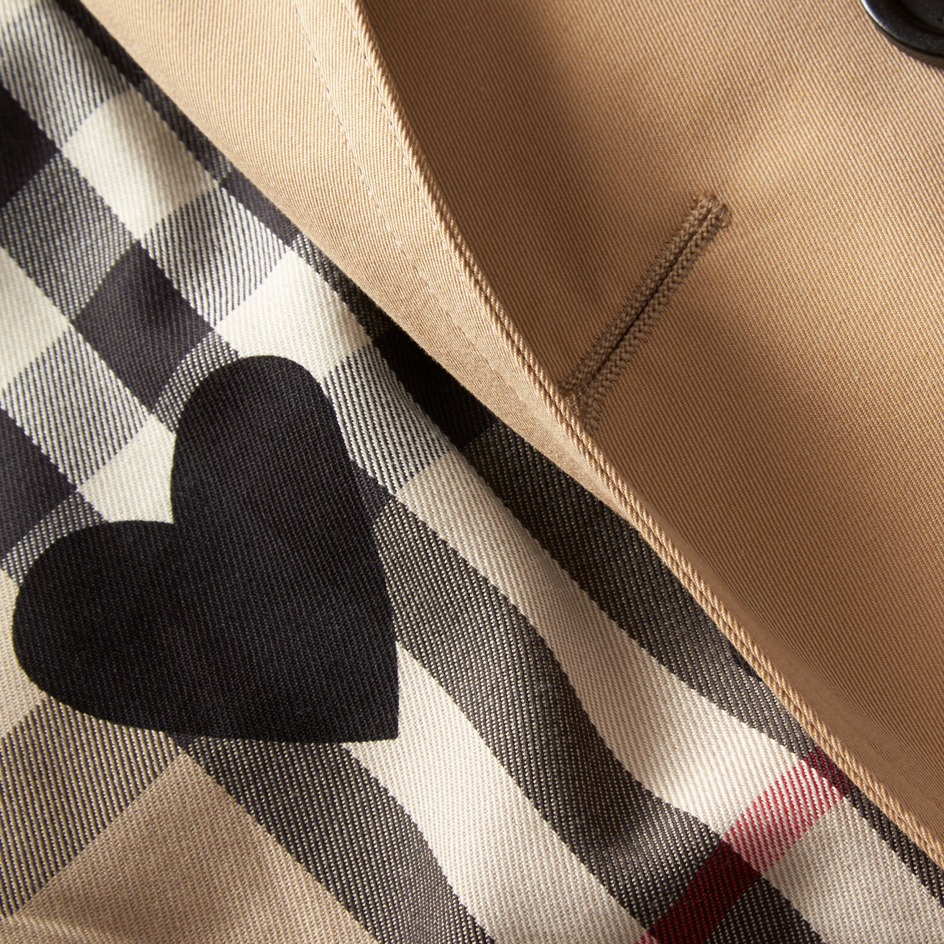 Honey Trench Coat with Check and Heart Lining - gallery image 2