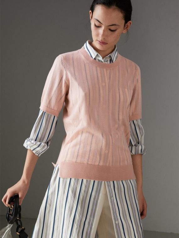 Short-sleeve Cashmere Sweater in Thistle Pink