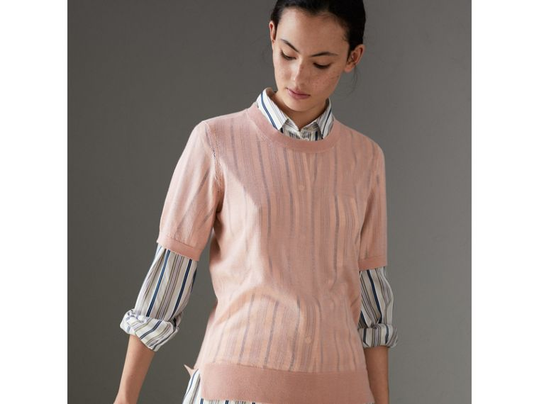 Short-sleeve Cashmere Sweater in Thistle Pink - Women | Burberry - cell image 4
