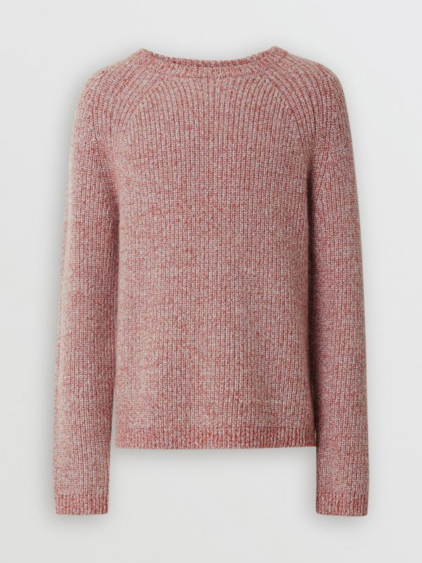 Rib Knit Cashmere Cotton Blend Sweater in Apricot Pink - Men | Burberry - cell image 3
