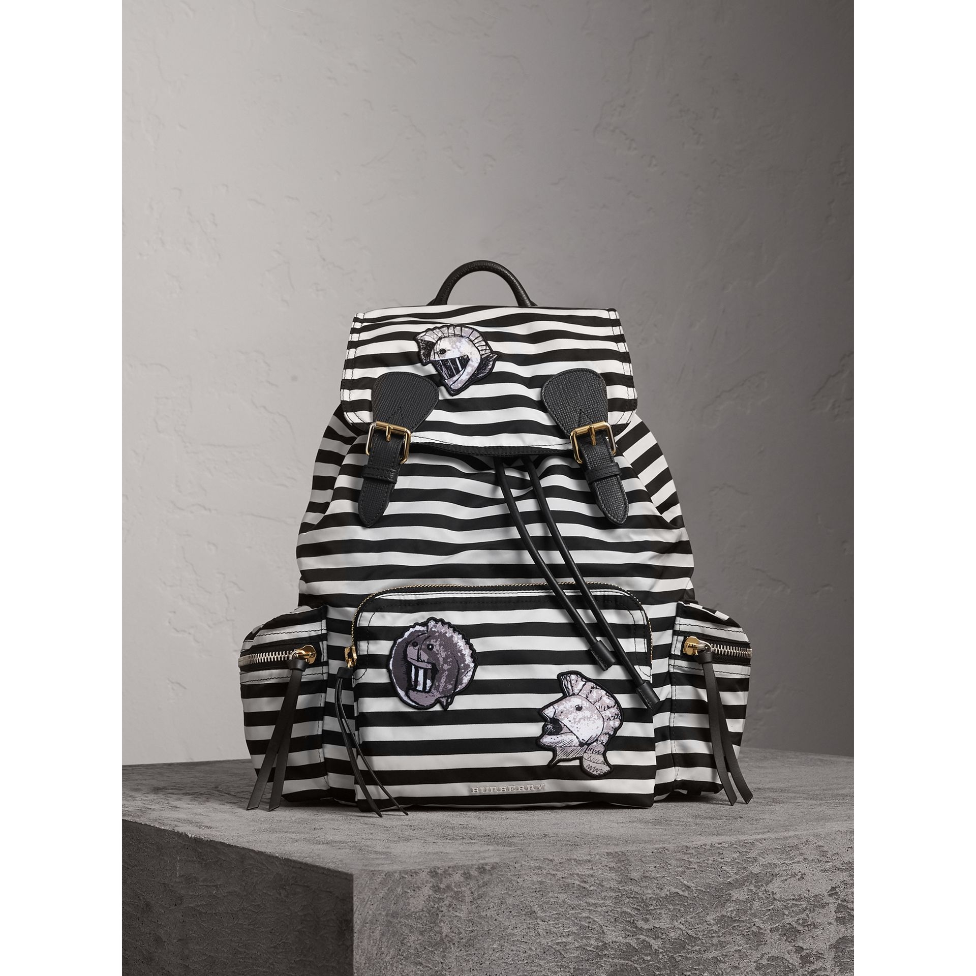 The Medium Rucksack with Pallas Heads and Helmet Appliqué in Black/white - Women | Burberry United Kingdom - gallery image 7