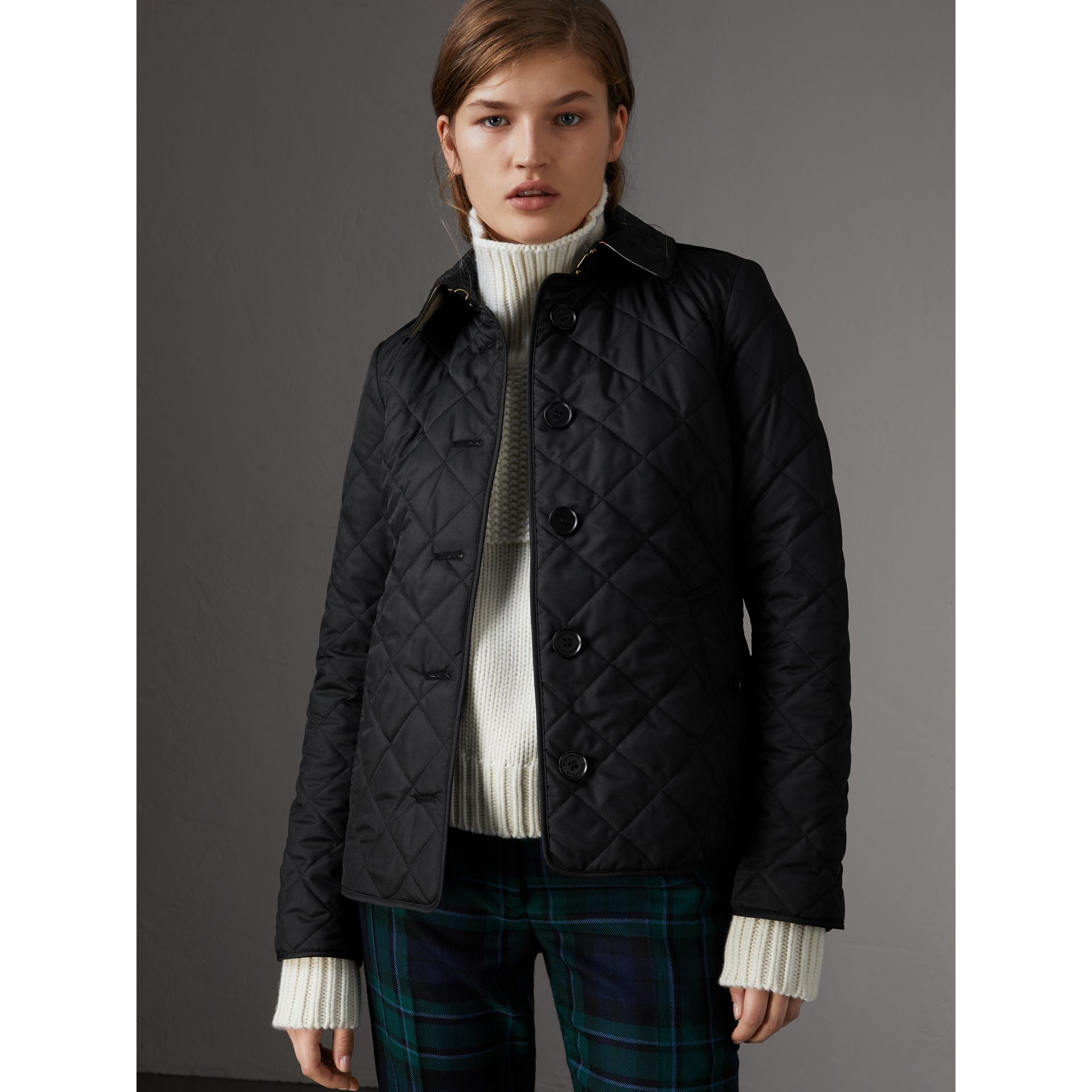 Diamond Quilted Jacket in Black - Women | Burberry Australia - gallery image 0
