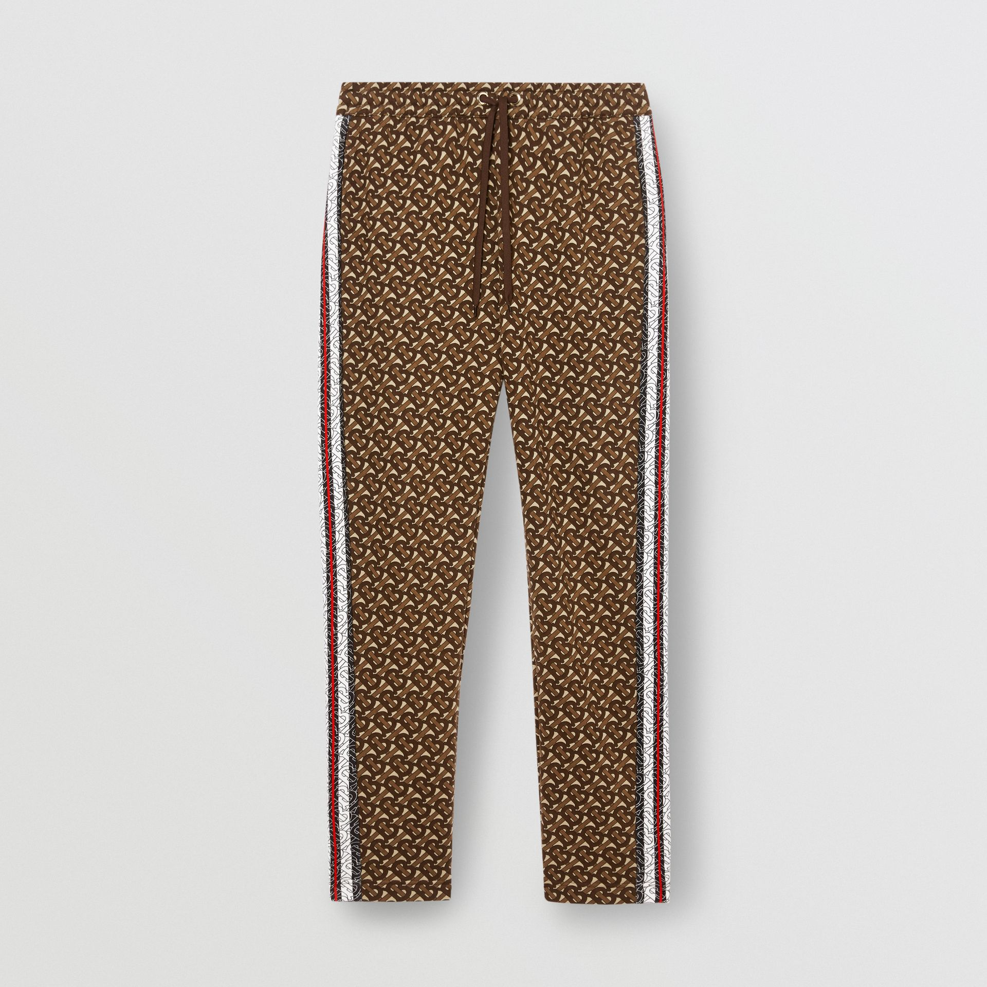 Monogram Stripe Print Cotton Trackpants in Bridle Brown - Men | Burberry - gallery image 3