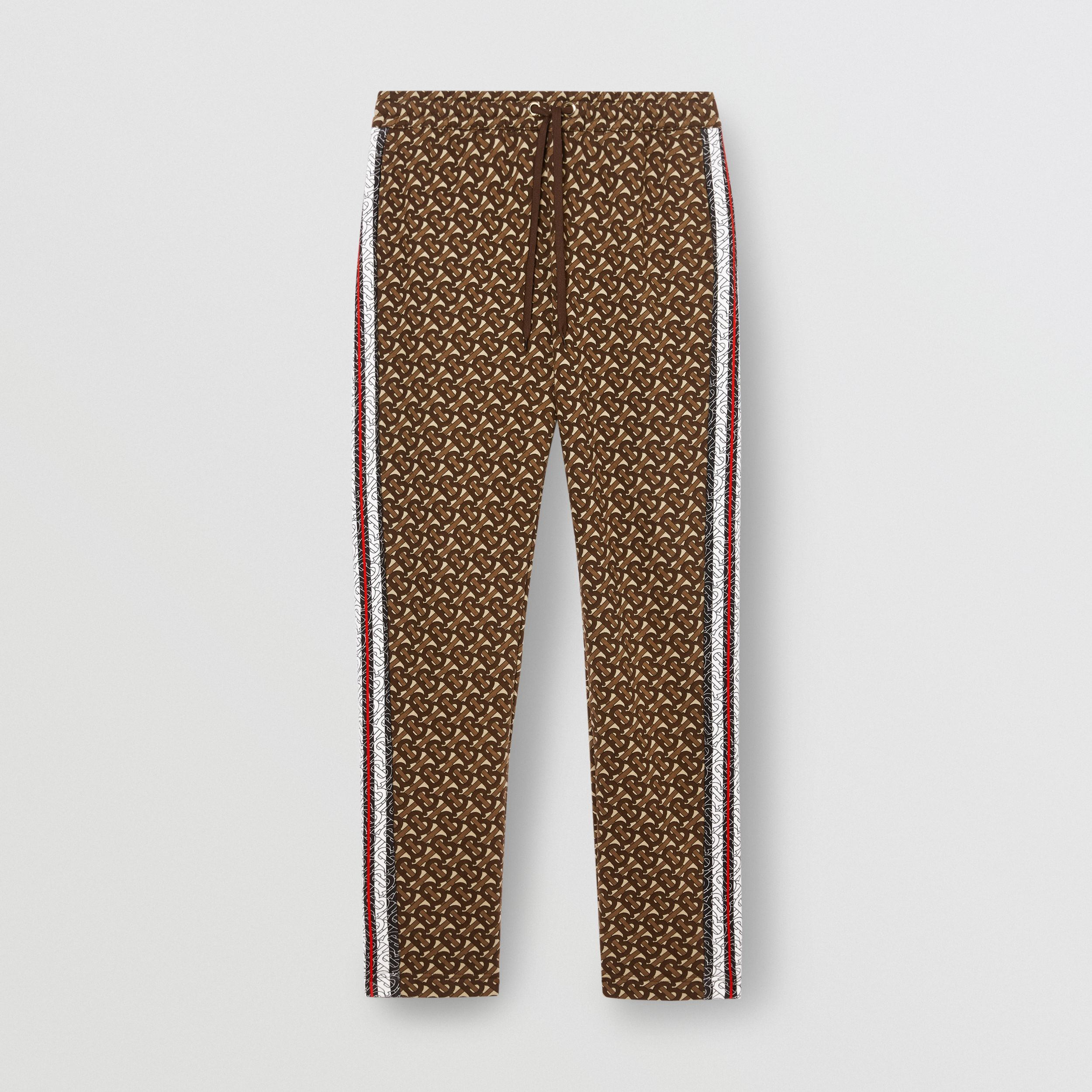 Monogram Stripe Print Cotton Trackpants in Bridle Brown - Men | Burberry - 4
