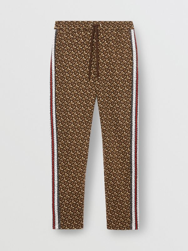 Monogram Stripe Print Cotton Trackpants in Bridle Brown - Men | Burberry - cell image 3