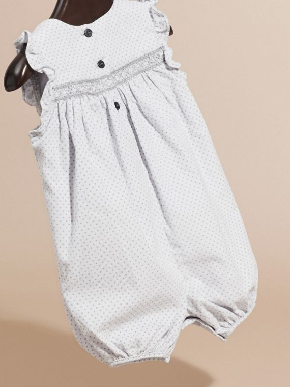 Pale grey Polka-dot Print Corduroy Smock Playsuit - cell image 3