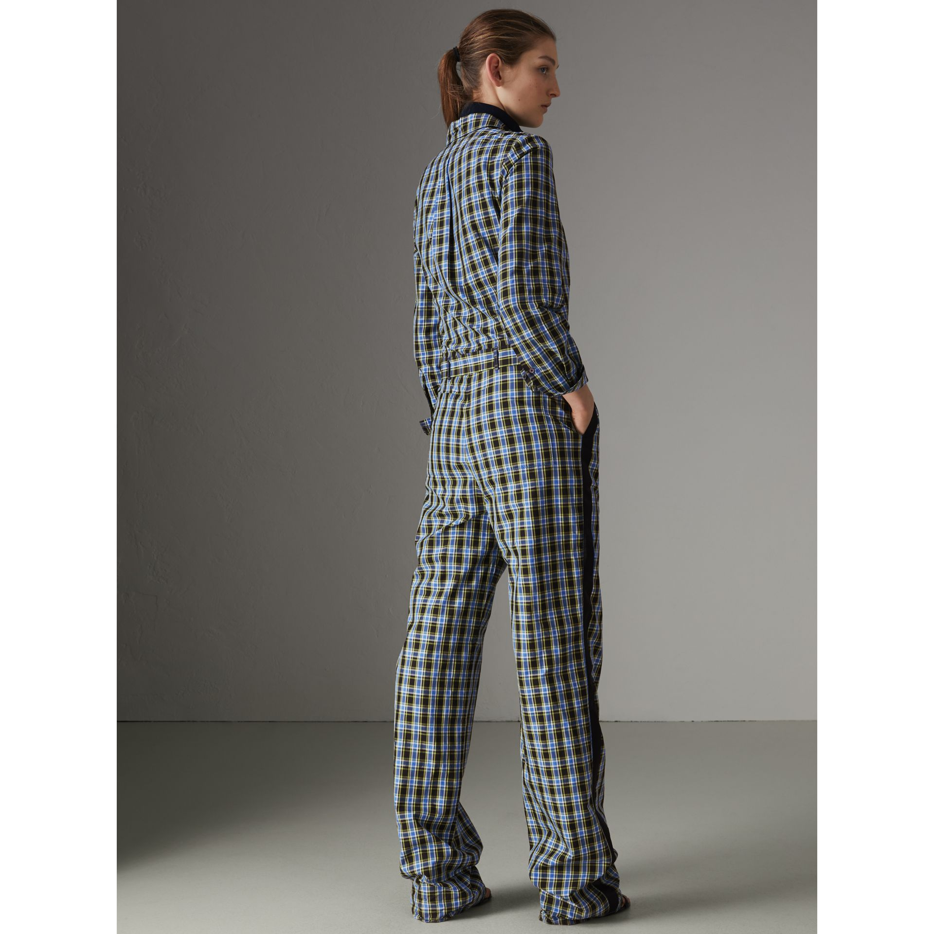Check Cotton Silk Jumpsuit in Azure Blue - Women | Burberry - gallery image 2
