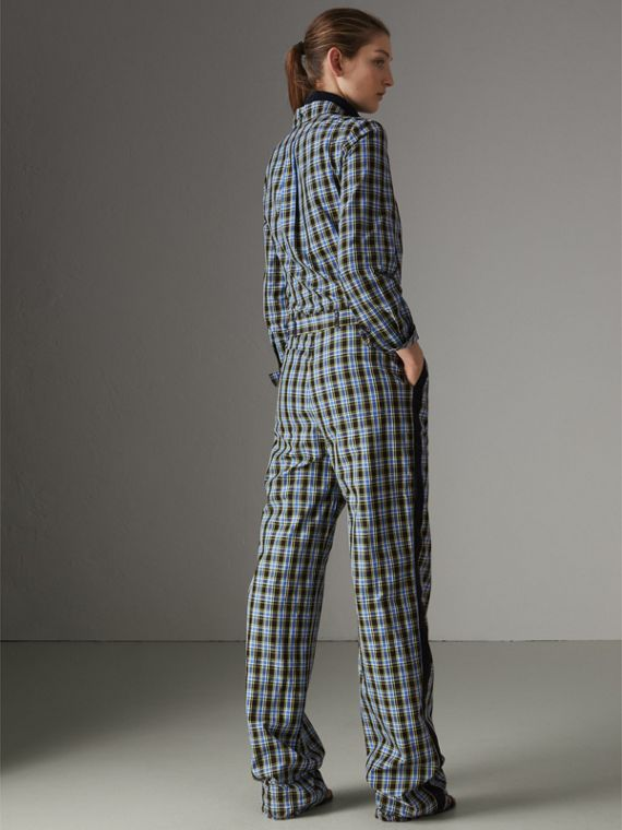 Check Cotton Silk Jumpsuit in Azure Blue - Women | Burberry - cell image 2