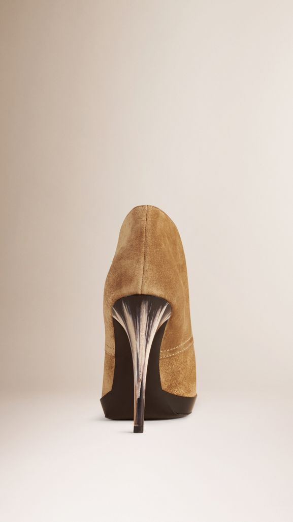 Lace-up Suede Ankle Boots in Sandstone - Women   Burberry United States - cell image 1