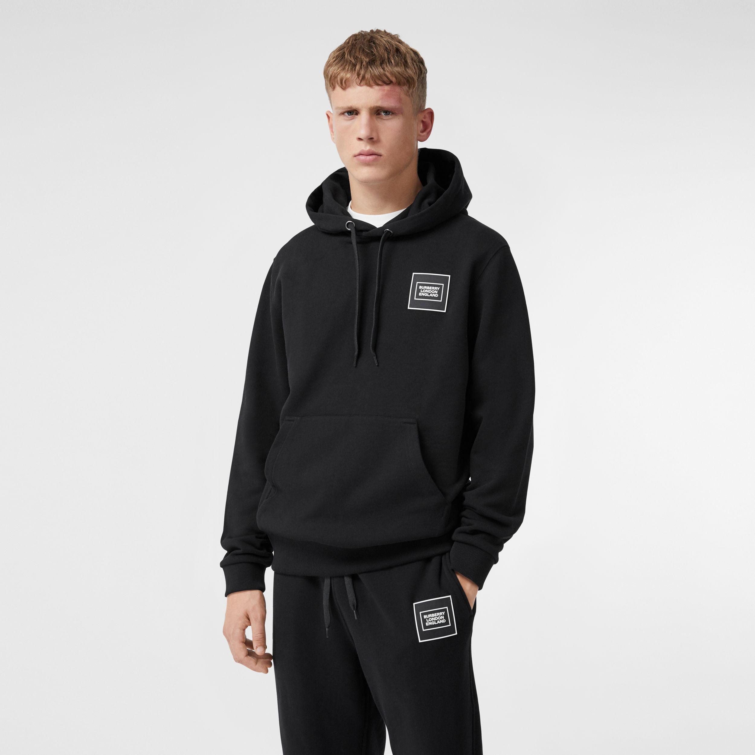 Logo Appliqué Cotton Hoodie in Black - Men | Burberry - 1