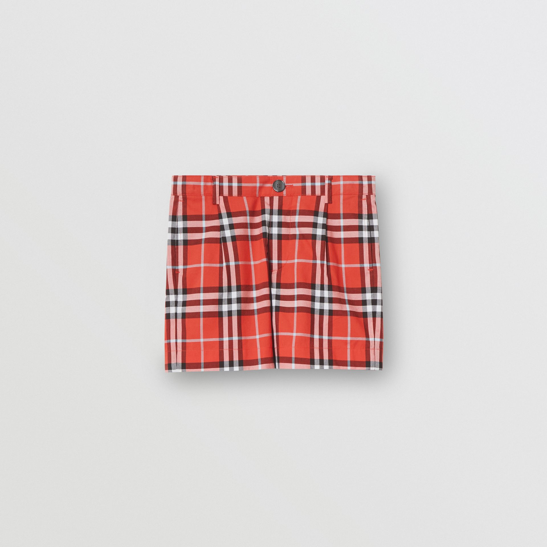Check Cotton Tailored Shorts in Orange Red | Burberry Australia - gallery image 0