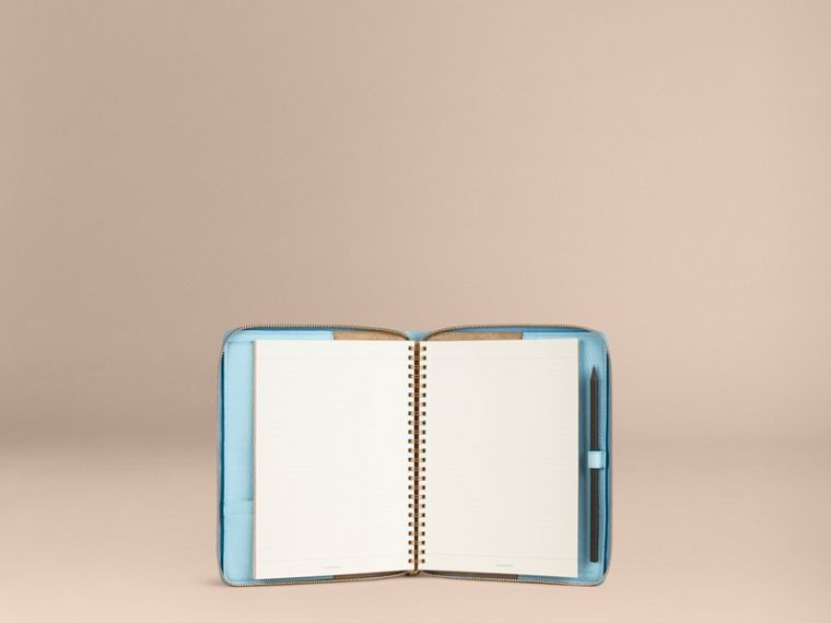 Bright mineral blue Ziparound Check-Embossed Leather A5 Notebook Bright Mineral Blue - cell image 4
