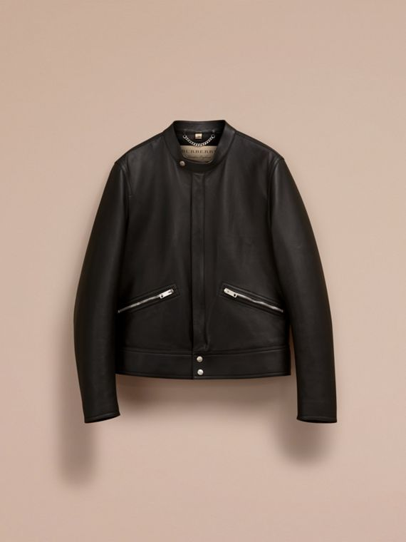 Black Lightweight Lambskin Biker Jacket - cell image 3