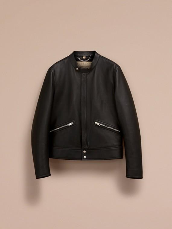 Черный Байкерская куртка из кожи ягненка - cell image 3