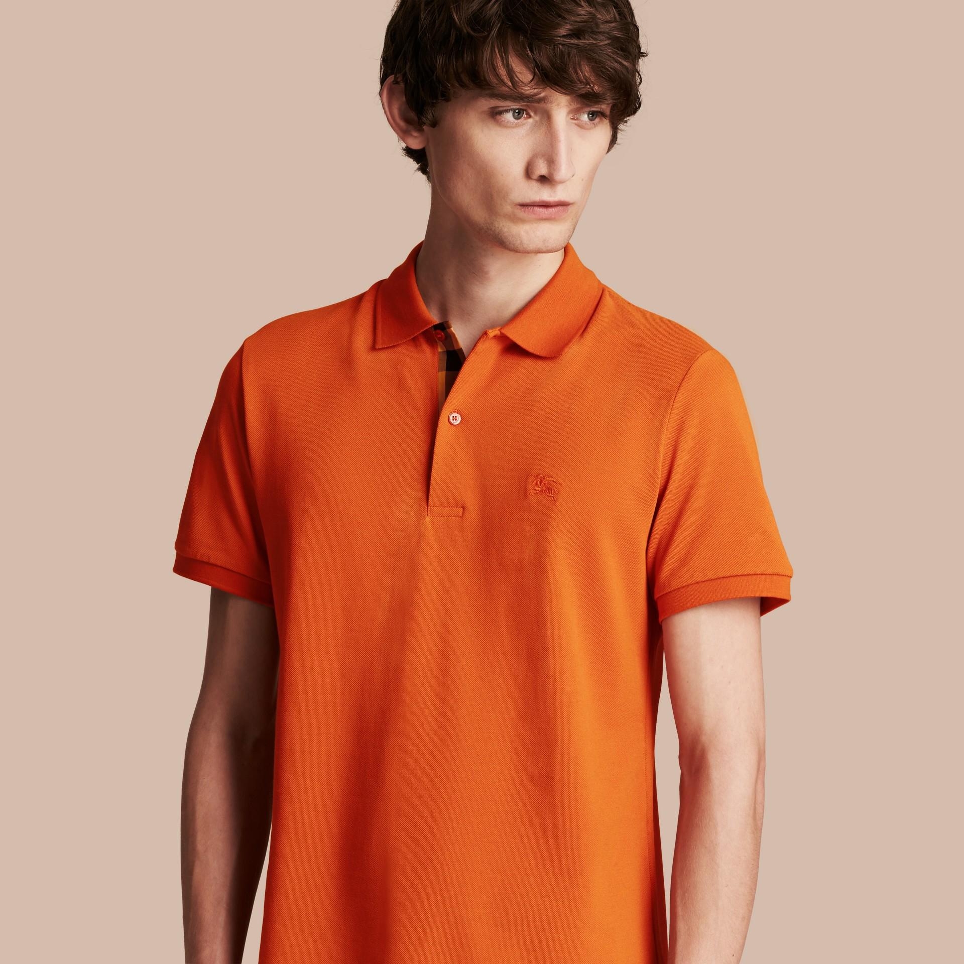Check Placket Cotton Piqué Polo Shirt Clementine - gallery image 1