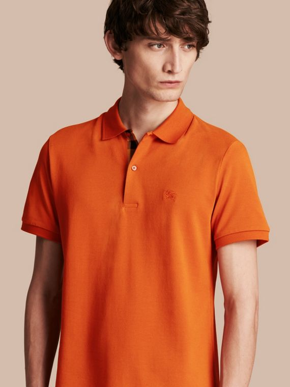 Check Placket Cotton Piqué Polo Shirt Clementine