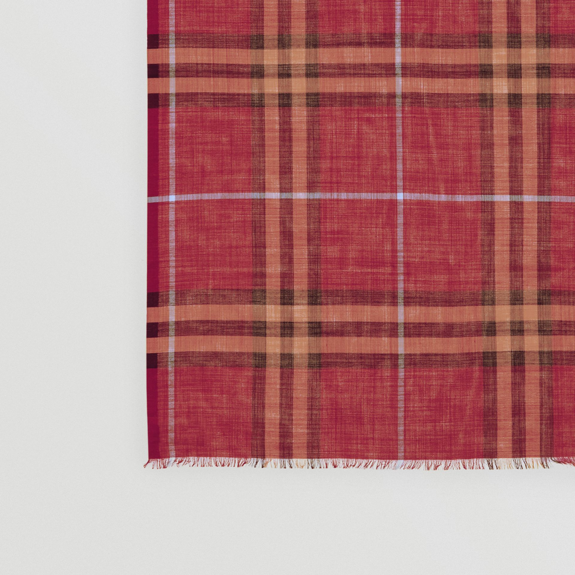 Lightweight Check Wool and Silk Scarf in Damson Pink | Burberry - gallery image 1