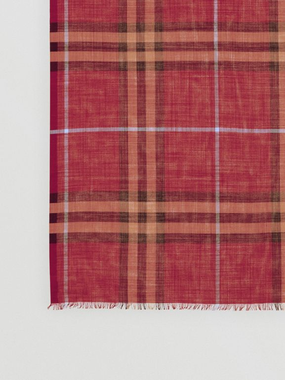 Lightweight Check Wool and Silk Scarf in Damson Pink | Burberry United Kingdom - cell image 1