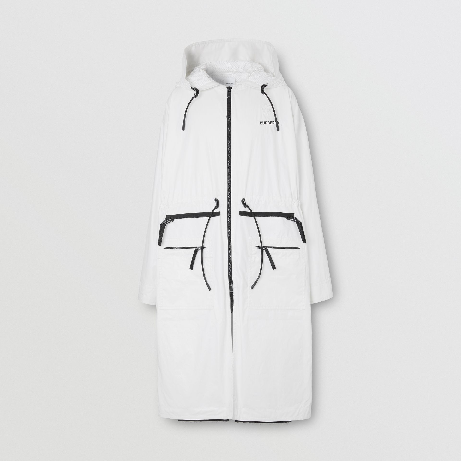 Zip Panel Technical Cotton Parka in Optic White | Burberry - gallery image 8
