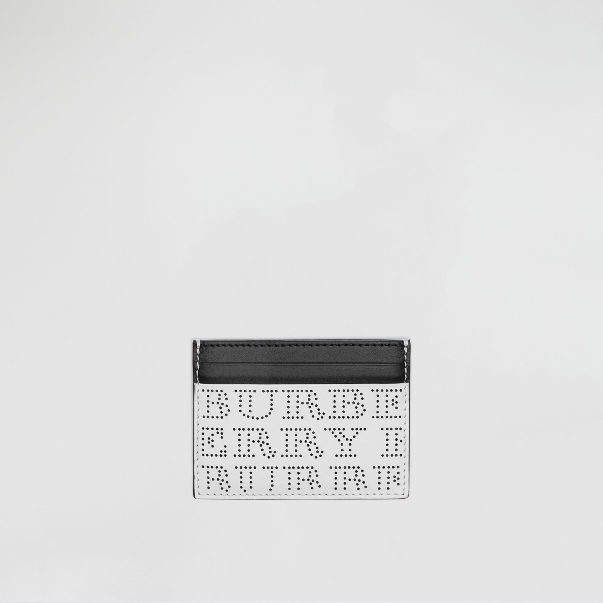 Perforated Logo Leather Card Case in Optic White - Men | Burberry Hong Kong - gallery image 0