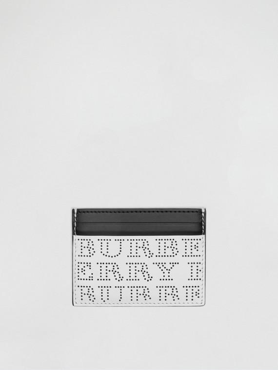 Porta carte di credito in pelle con logo traforato (Bianco Ottico)