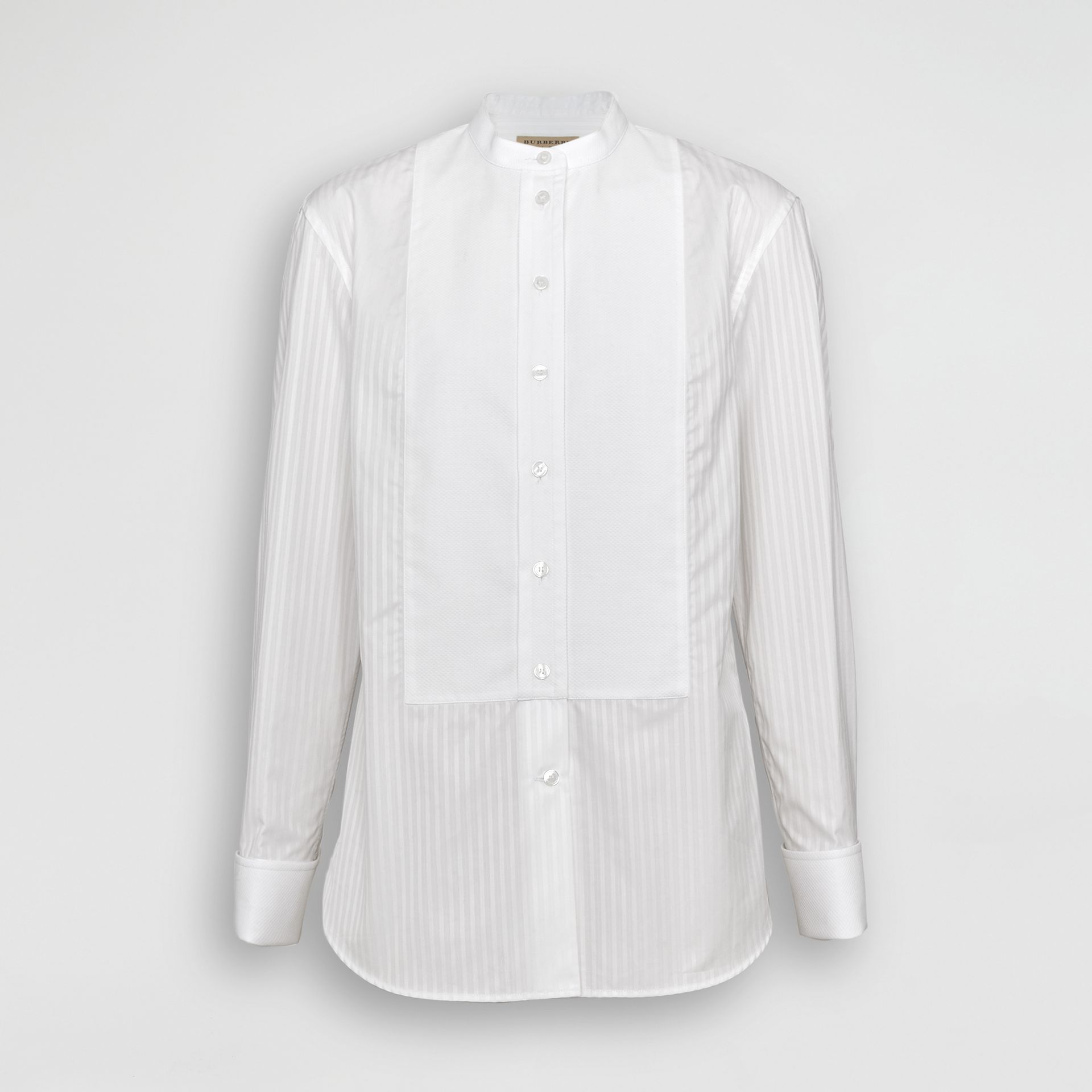 Slim Fit Panelled Bib Cotton Shirt in White - Women | Burberry - gallery image 3