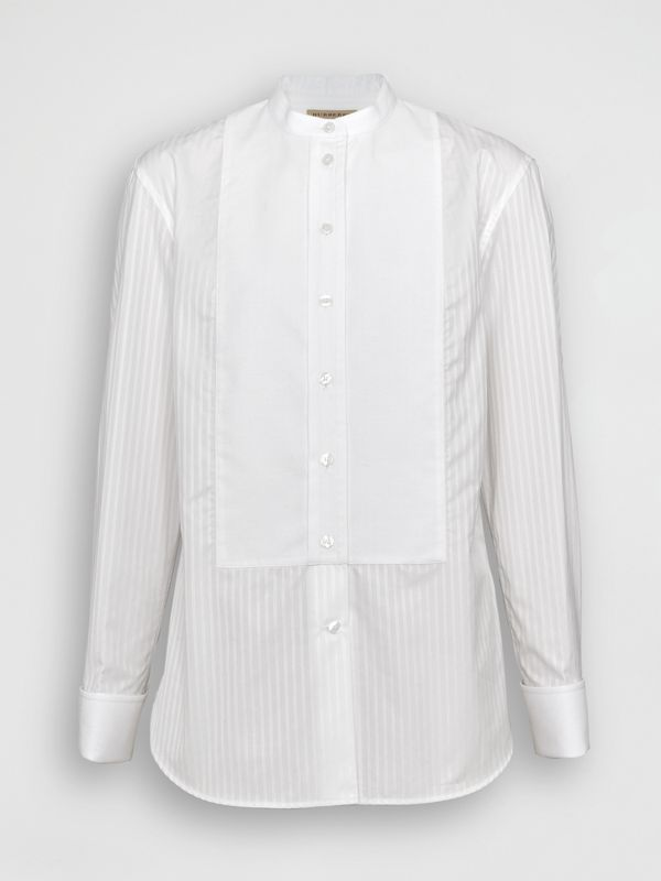 Slim Fit Panelled Bib Cotton Shirt in White - Women | Burberry - cell image 3