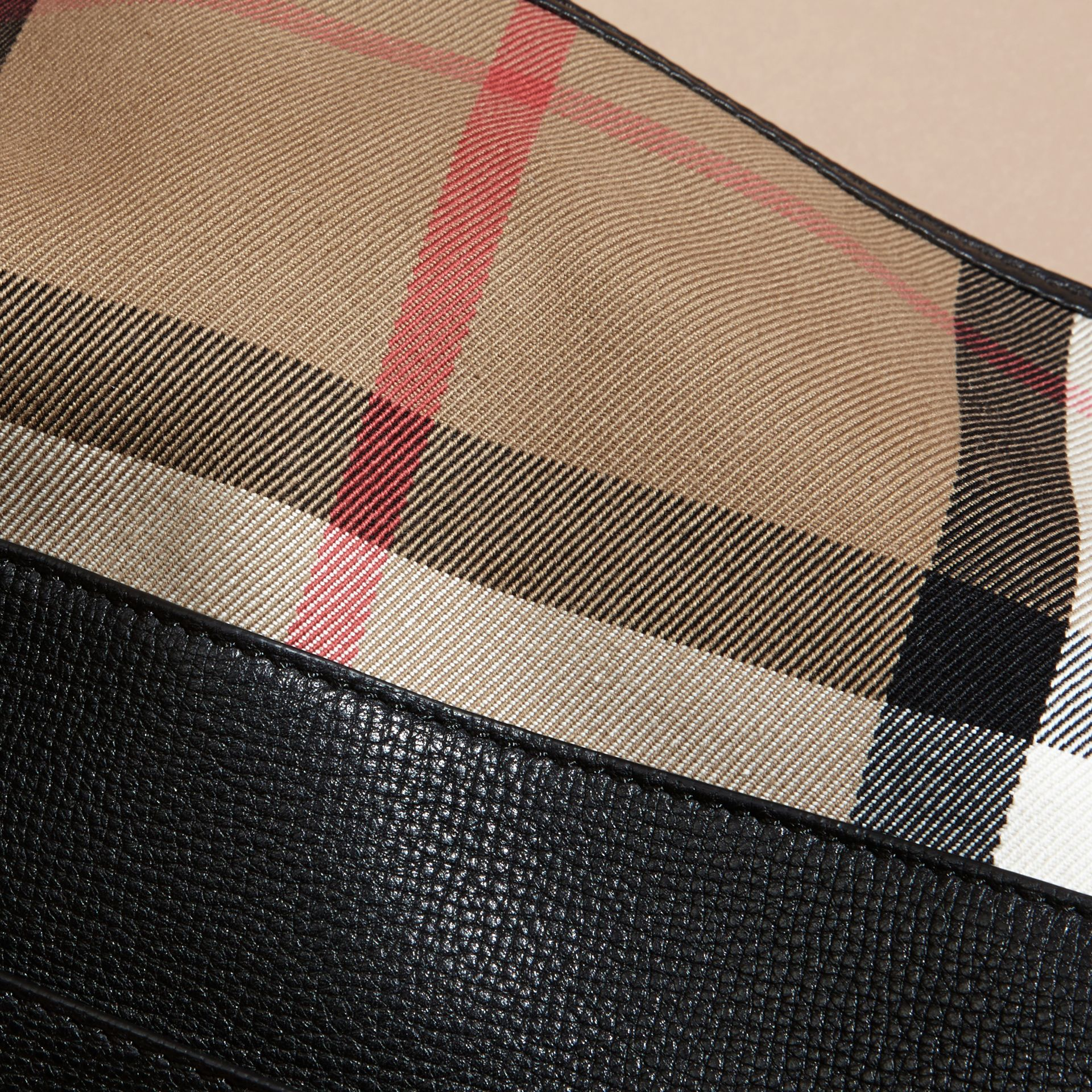 House Check and Leather Clutch Bag in Black - Women | Burberry Canada - gallery image 7
