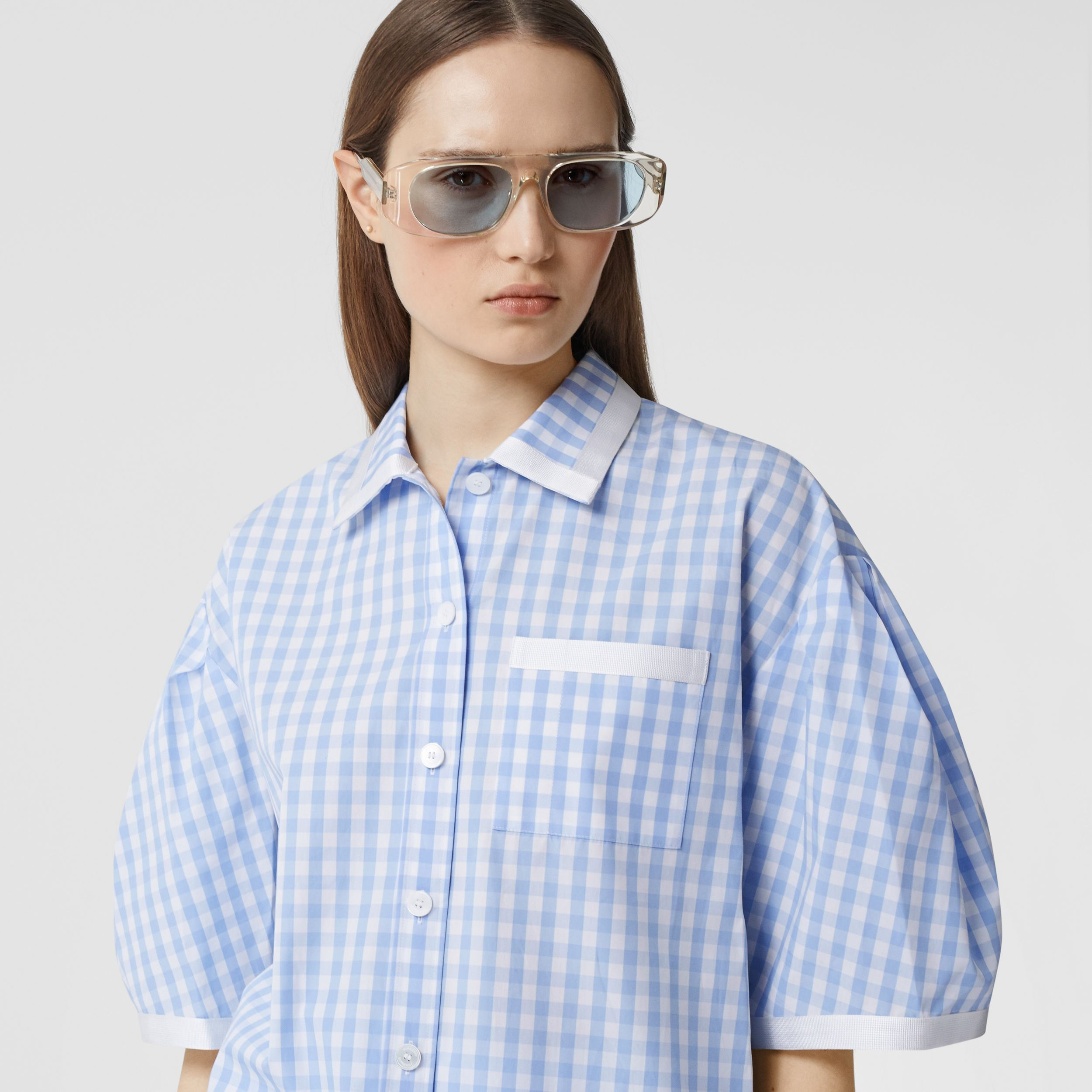 Puff-sleeve Gingham Cotton Oversized Shirt in Pale Blue - Women | Burberry - 2