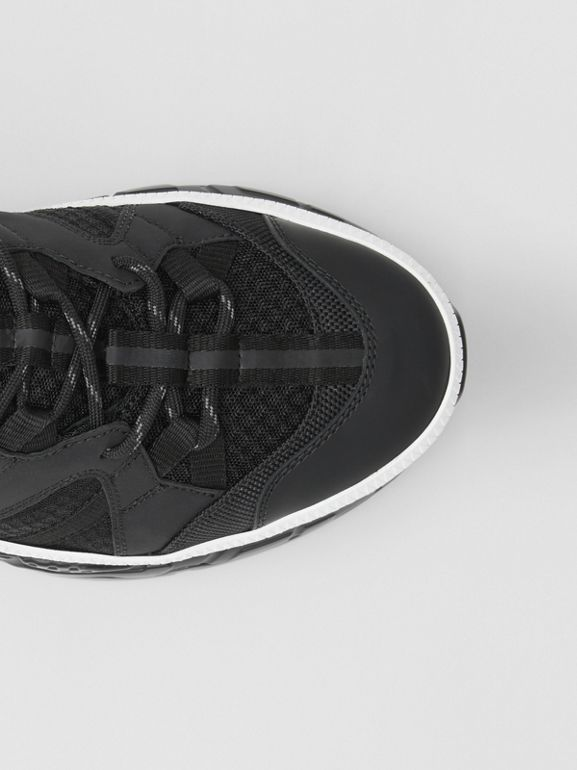 Monogram Motif Mesh and Nubuck Sneakers in Black - Men | Burberry - cell image 1