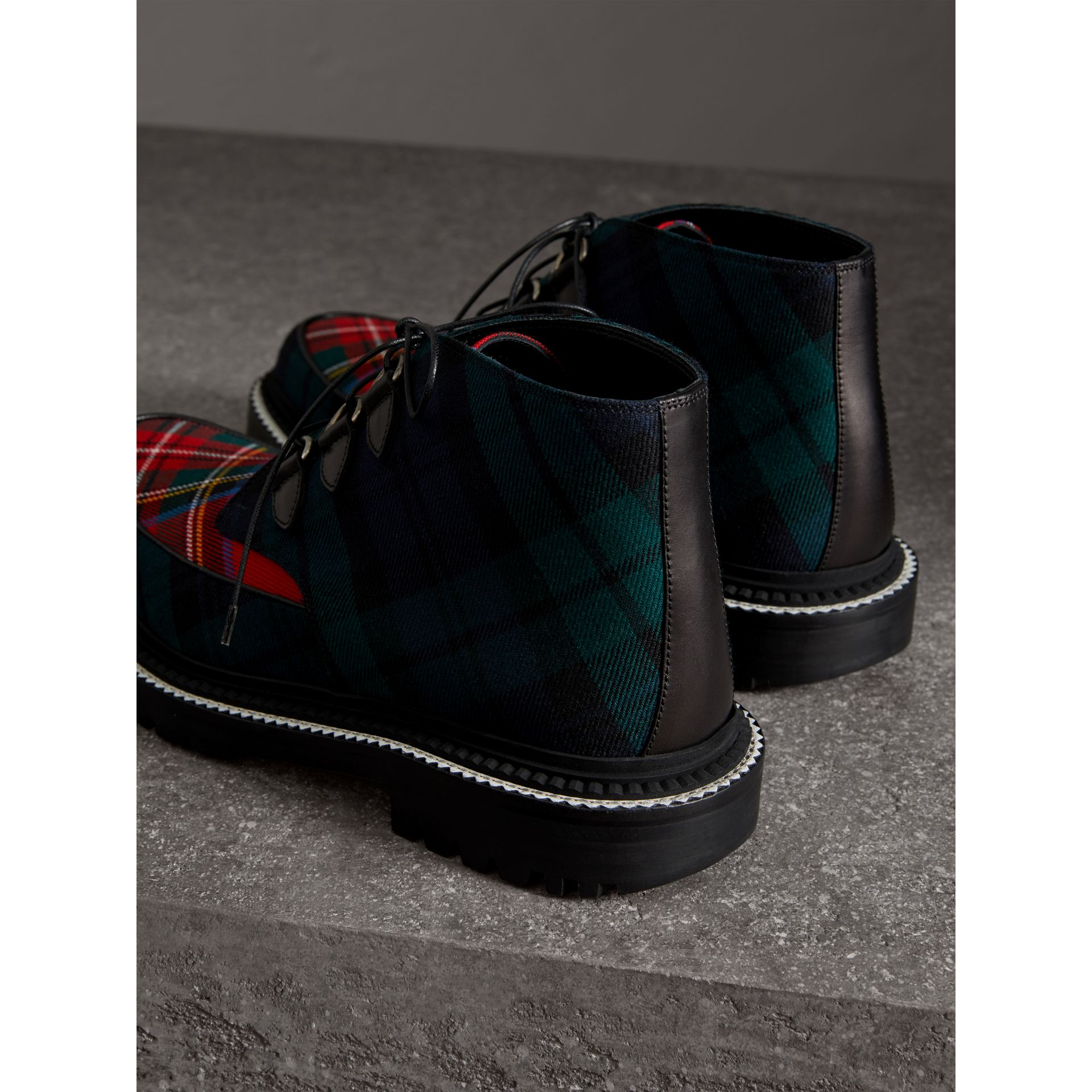 Tartan Wool and Leather Ankle Boots in Black - Men | Burberry - gallery image 2
