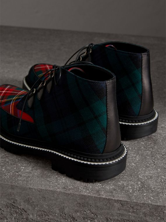 Tartan Wool and Leather Ankle Boots in Black - Men | Burberry United States - cell image 2