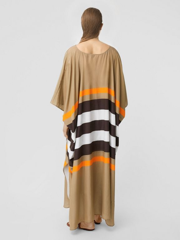 Monogram Motif Print Silk Cotton Kaftan in Archive Beige | Burberry - cell image 1