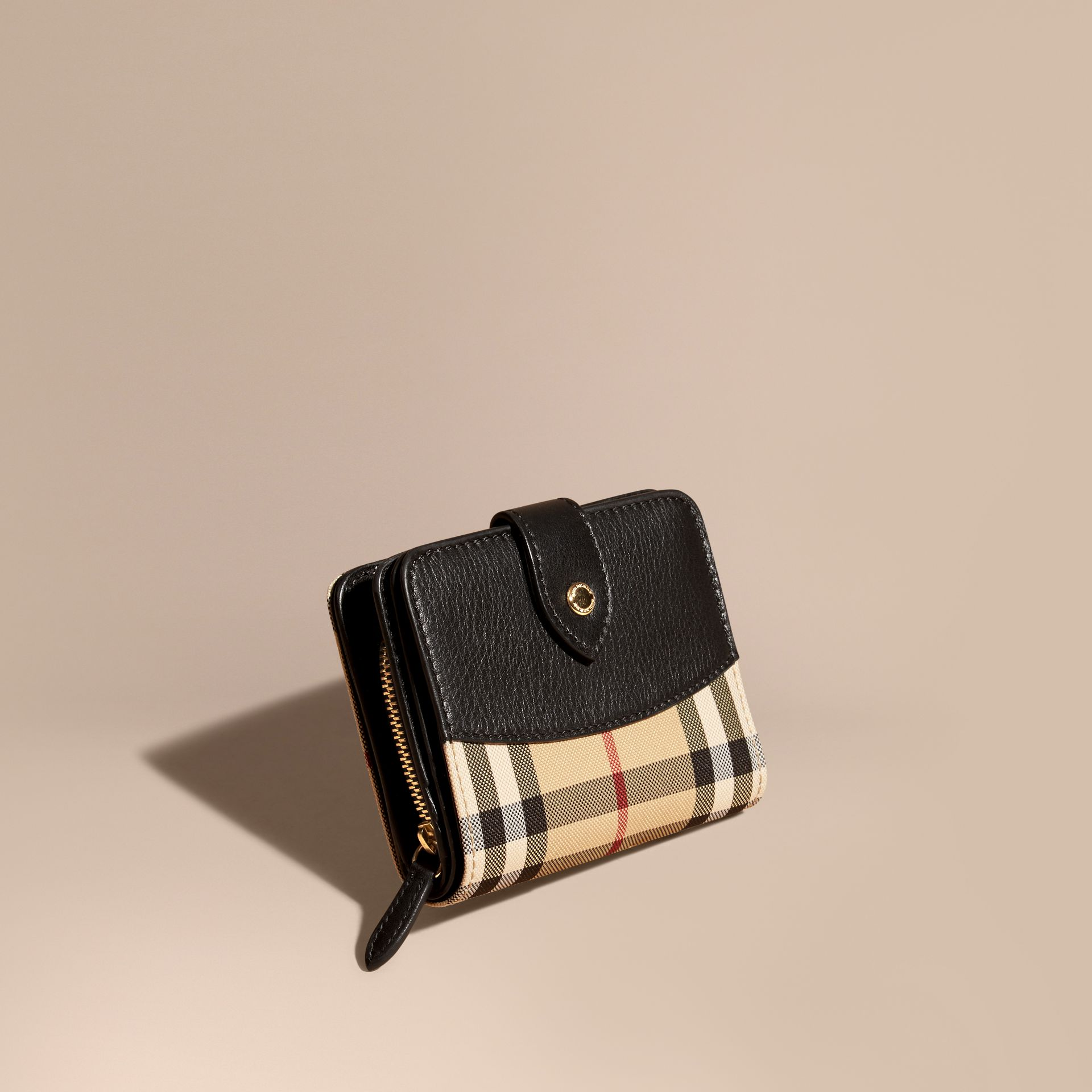 Horseferry Check and Leather Wallet Black - gallery image 1