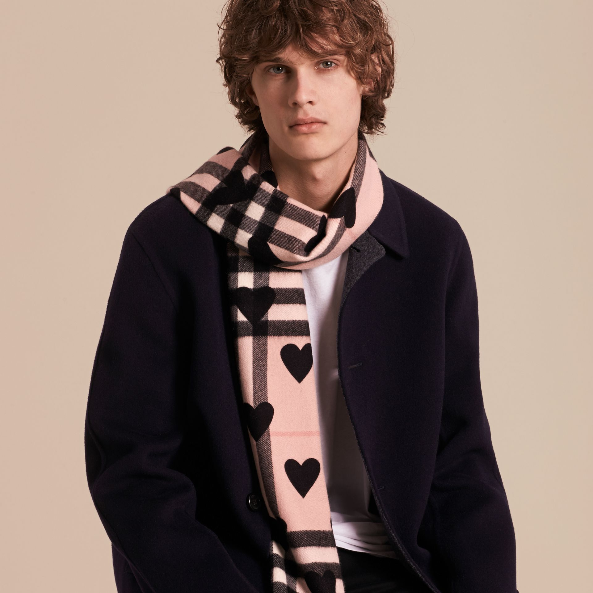The Classic Cashmere Scarf in Check and Hearts Rose/black - gallery image 4