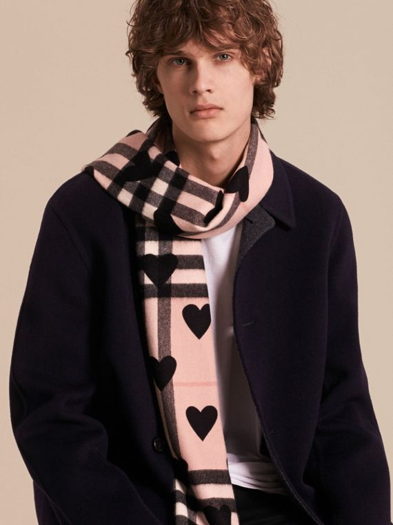 The Classic Cashmere Scarf in Check and Hearts in Ash Rose/black | Burberry - cell image 3