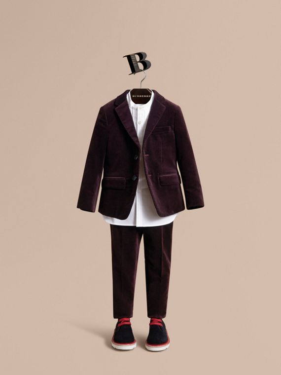 Tailored Velvet Blazer in Blackcurrant - Boy | Burberry Singapore - cell image 2