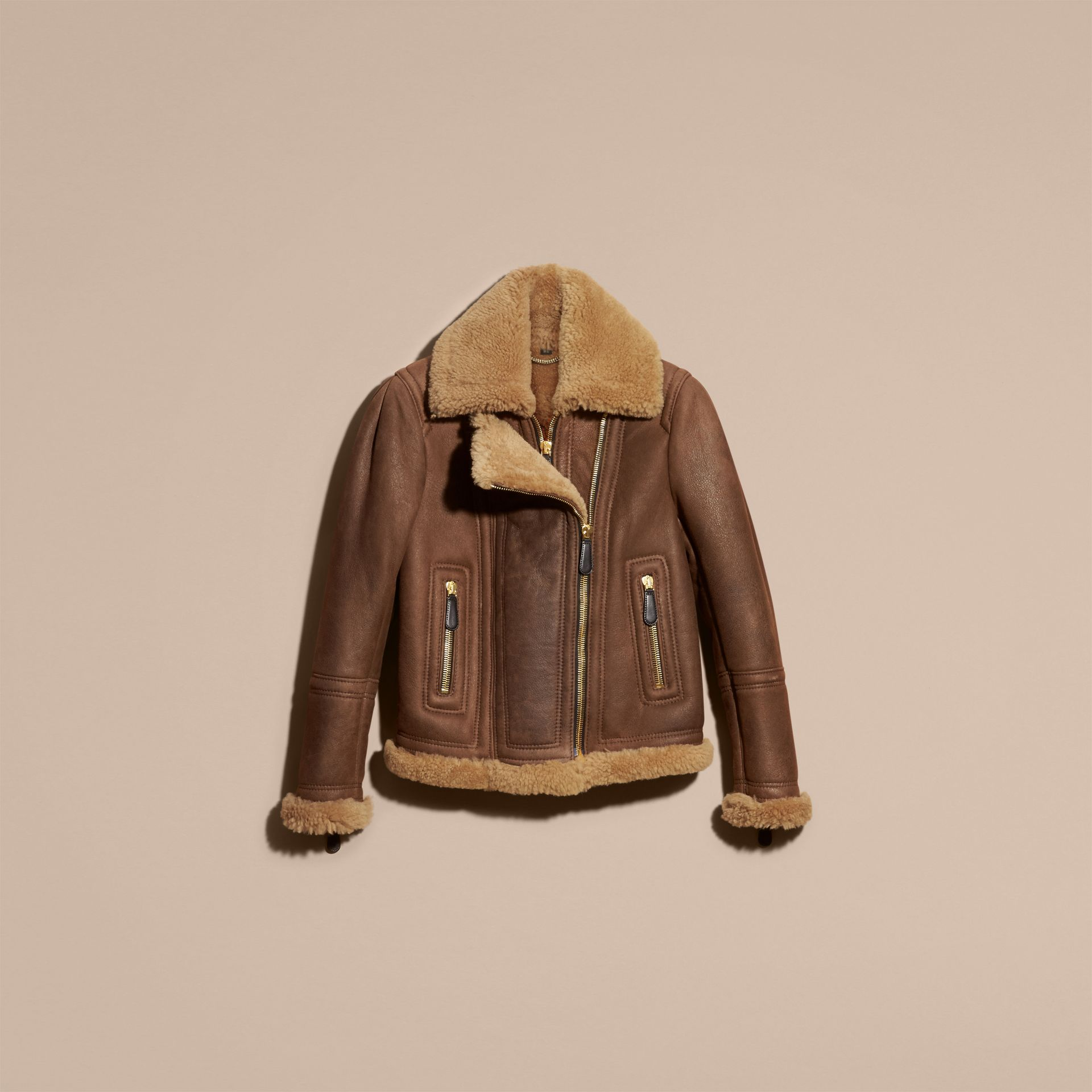 Dark tan/tan Double-placket Shearling Flight Jacket - gallery image 4