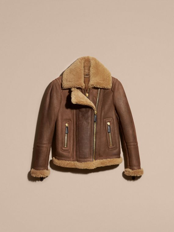 Dark tan/tan Double-placket Shearling Flight Jacket - cell image 3